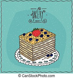 clásico, servilleta, pastel, de encaje, bayas, napoleon