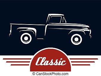 clásico, silueta, vehículo, recolección
