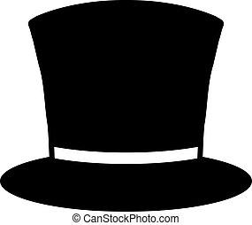 clásico, sombrero, cima