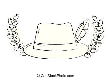 clásico, sombrero, fedora, pluma, emblema, moda