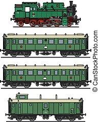 clásico, tren vapor