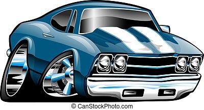 clássicas, americano, músculo, car, caricatura
