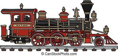 clássicas, americano, vapor, locomotiva