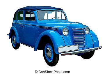 clássicas, azul, retro, car, isolado