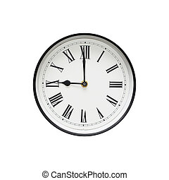clássicas, backgrou, relógio, isolado, pretas, branca, redondo