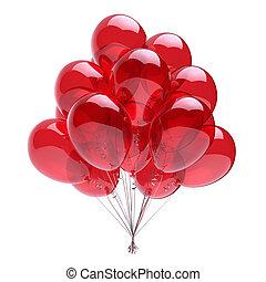 clássicas, balões, decoração, partido aniversário, hélio, vermelho, grupo