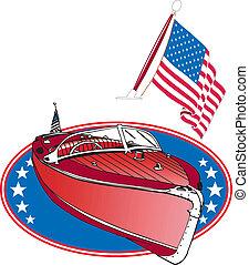 clássicas, barco madeira