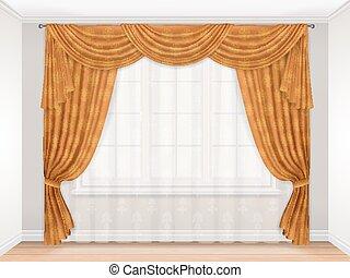 clássicas, bege, cortina, com, damasco, padrão