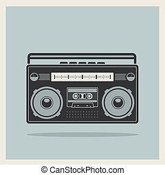 clássicas, boombox, vetorial, retro, fundo, 80s