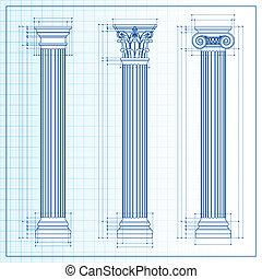 clássicas, colunas, blueprint, esboço