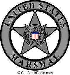 clássicas, emblema, estados unidos, marshal