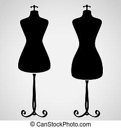 clássicas, femininas, mannequin, silueta