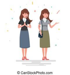 clássicas, imagem, de, um, woman., trabalhando, mom., negócio, woman.