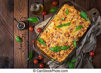 clássicas, lasanha, com, bolonhês, sauce., apartamento, lay., vista superior