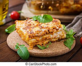 clássicas, lasanha, com, bolonhês, sauce.