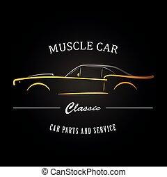 clássicas, músculo, car, silhouette.