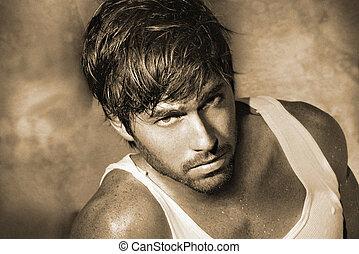 clássicas, macho, modelo, closeup