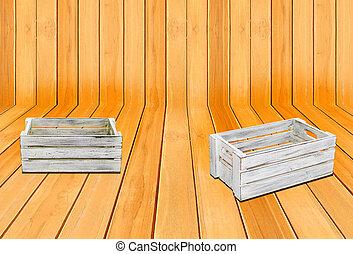 clássicas, madeira, padrão, caixas, madeira, 2, branca