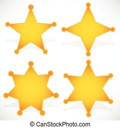 clássicas, ocidental, emblema sheriff, xerife, star.,...