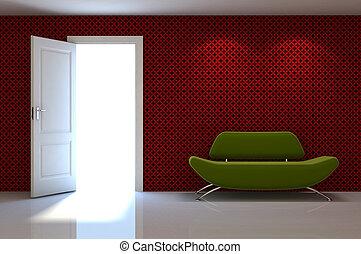 clássicas, parede, cena, sofá, interior, branco vermelho, 3d