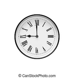 clássicas, relógio, isolado, experiência preta, branca, redondo