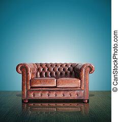 clássicas, sofá couro marrom, e, antigas