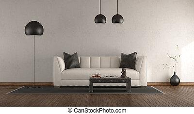 clássicas, sofá, em, um, quarto branco