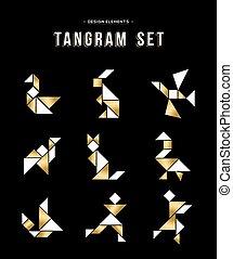 clássicas, tangram, jogo, ícone, jogo, em, ouro, cor