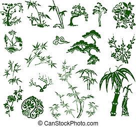 clássicas, tradicional, tinta, chinês, bambu