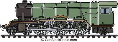 clássicas, verde, locomotiva, vapor