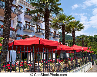 clássico, hotel, lago, garda, itália