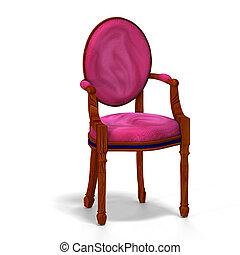 clássico, -, metade, cadeira, vista lateral