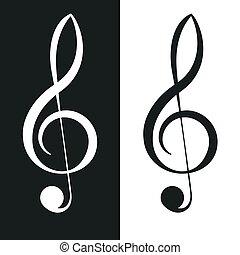 clássico, musical, triplo, clef., g-clef, símbolo., notação