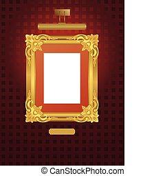 clássico, quadro, com, lamp.