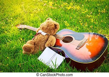 clássico, urso teddy, guitarra, campo, sono