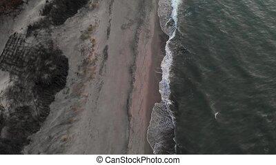 clã©, après, briser, écumer, vagues, vidéo, vue, plage ...