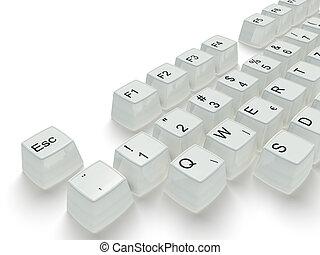 clã©, blanc, clavier
