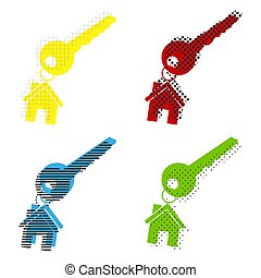 clã©, bleu, chaîne, maison, signe., jaune, vector., rouges
