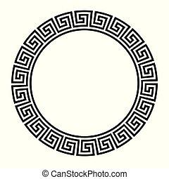 clã©, border., rond, cercle, grec, assyrian, motives, frame., typique, égyptien