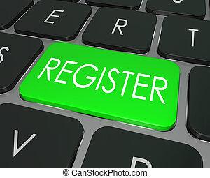 clã©, clavier, entrer, registre, site, magasin informatique, enroll