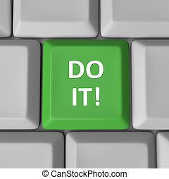 clã©, clavier, il, informatique, vert, mots, encouragement