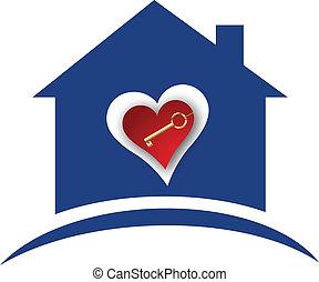 clã©, coeur, maison, or, logo