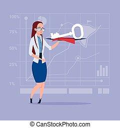 clã©, concept, business, reussite, sûr, tenue femme, sécurité