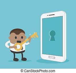 clã©, doré, smartphone, tient, reussite, homme affaires, capabilities, africaine, ouvrir