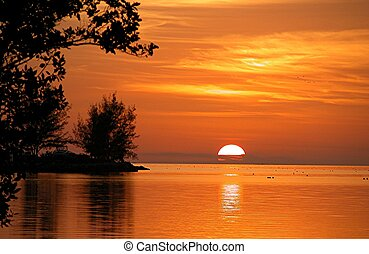 clã©, fête, coucher soleil