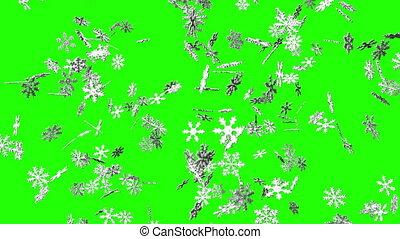 clã©, neige, chroma, vert, cristaux