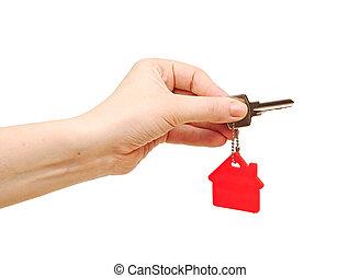clã©, porte clé, tenue, maison, house., main, forme, fond, blanc