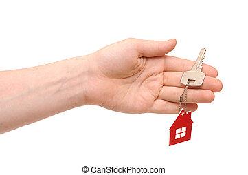 clã©, porte clé, tenue, maison, main, forme, fond, blanc