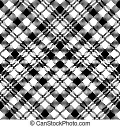 clã, xadrez, padrão, relógio, seamless, pretas, tartan