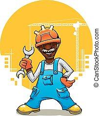 clé, constructeur, dessin animé, uniforme